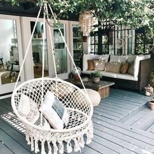 Macramé hanging chair woven boho indoor outdoor